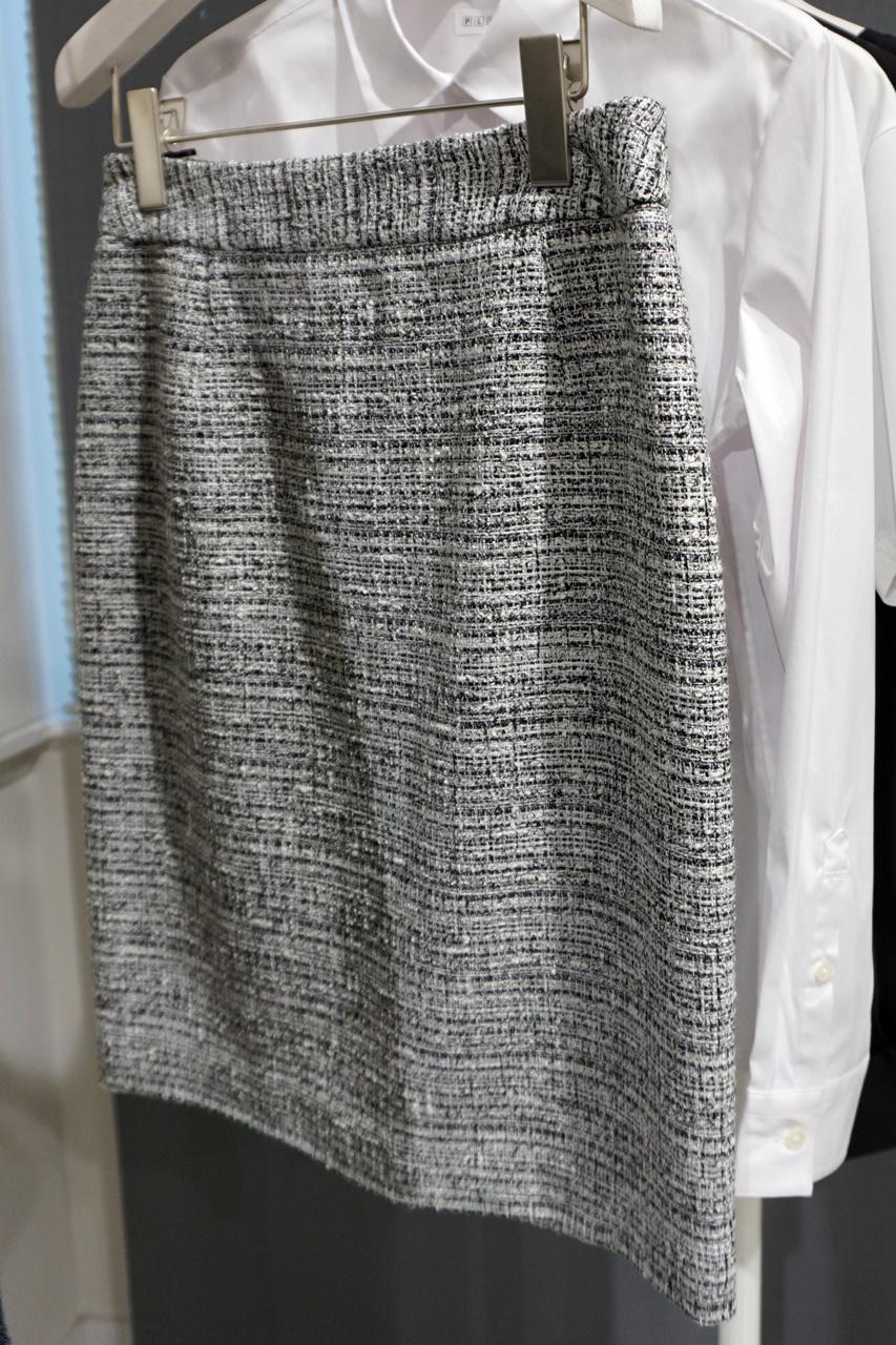 ツイード膝丈ストレートタイトスカート