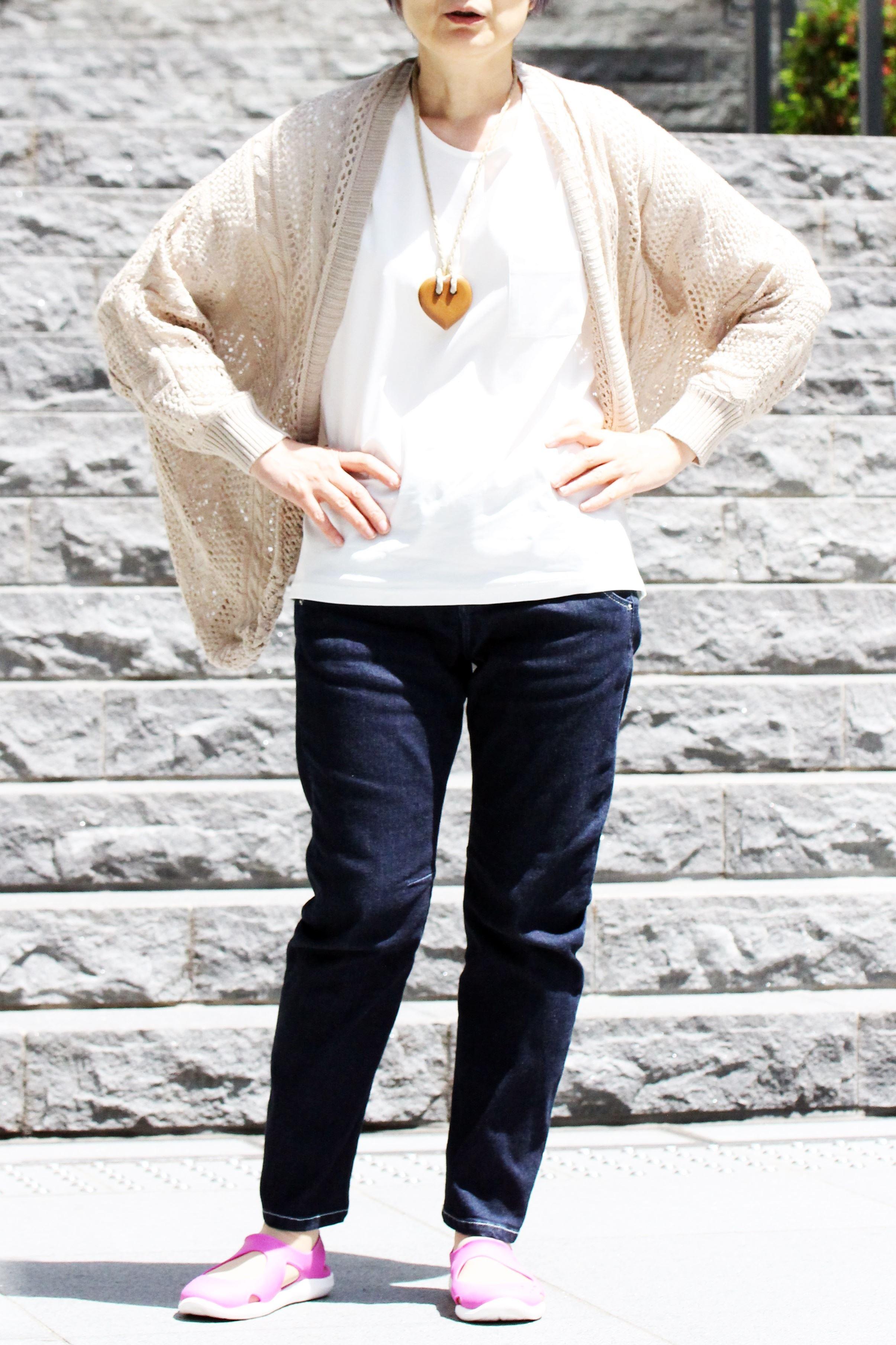 【セシール】≪イマージュ≫透かし編みニットカーディガン
