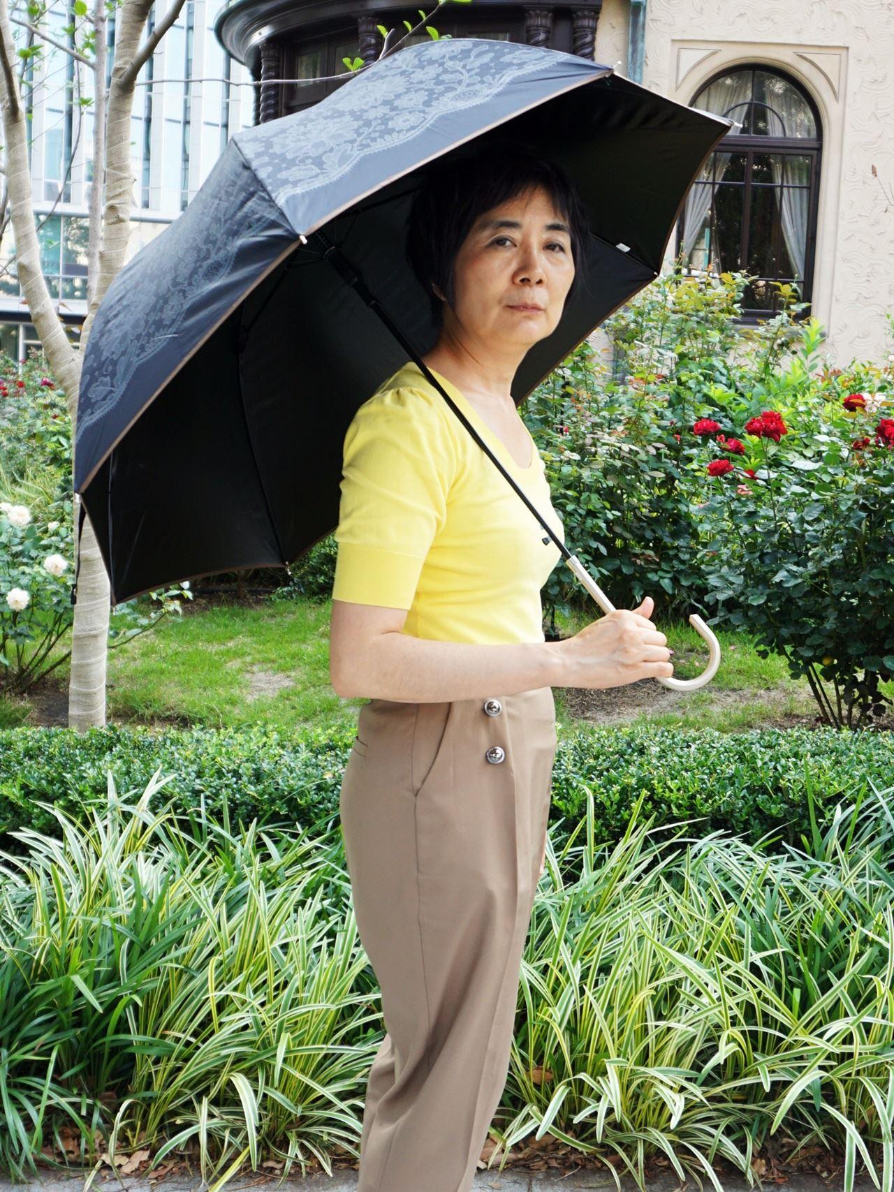 【楽天市場macocca】レース柄 グラスファイバー 晴雨兼用ジャンプ傘