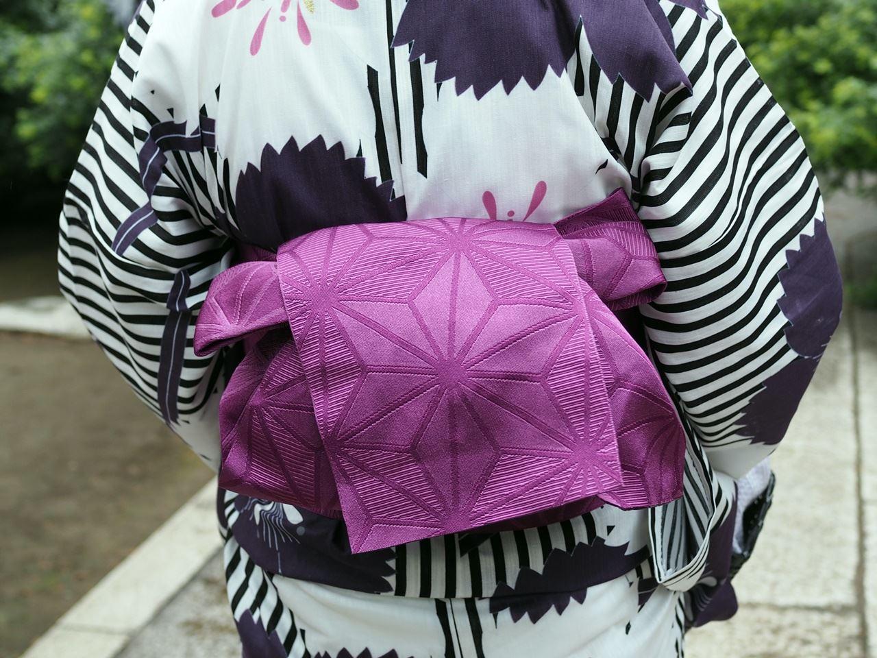 撫子の浴衣と紫の半幅帯