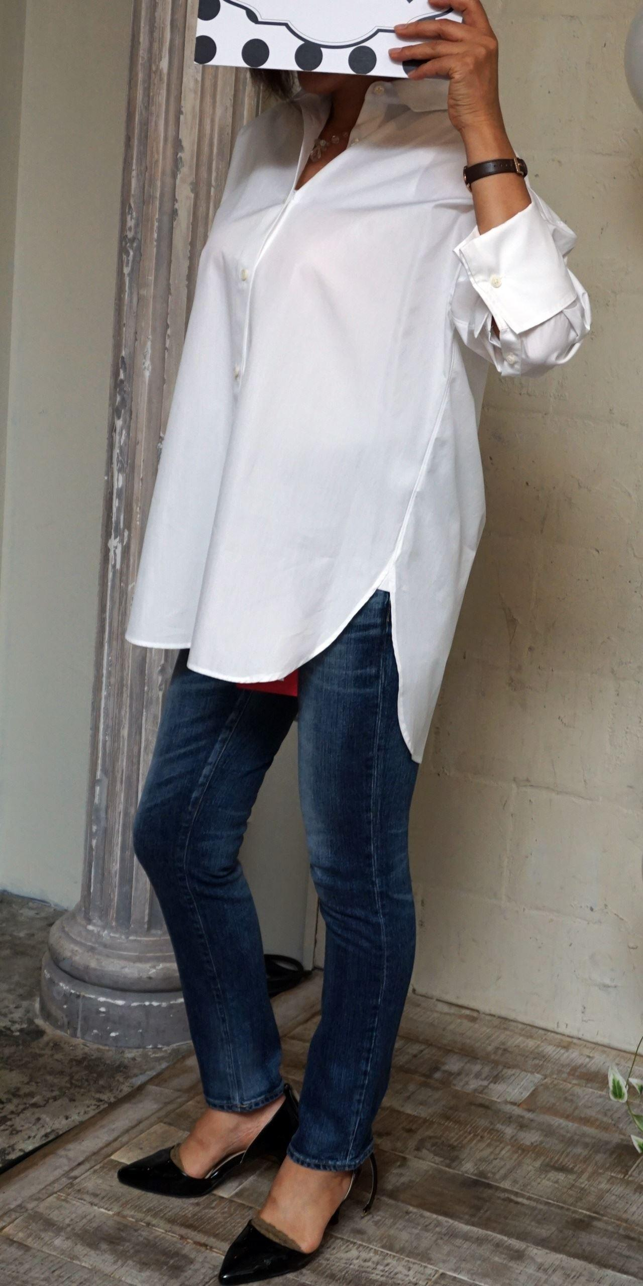 ミモレ×スタイルノート トーマスメイソン使用コットンシャツ&[RED CARD/レッドカード]WOMANデニムパンツ
