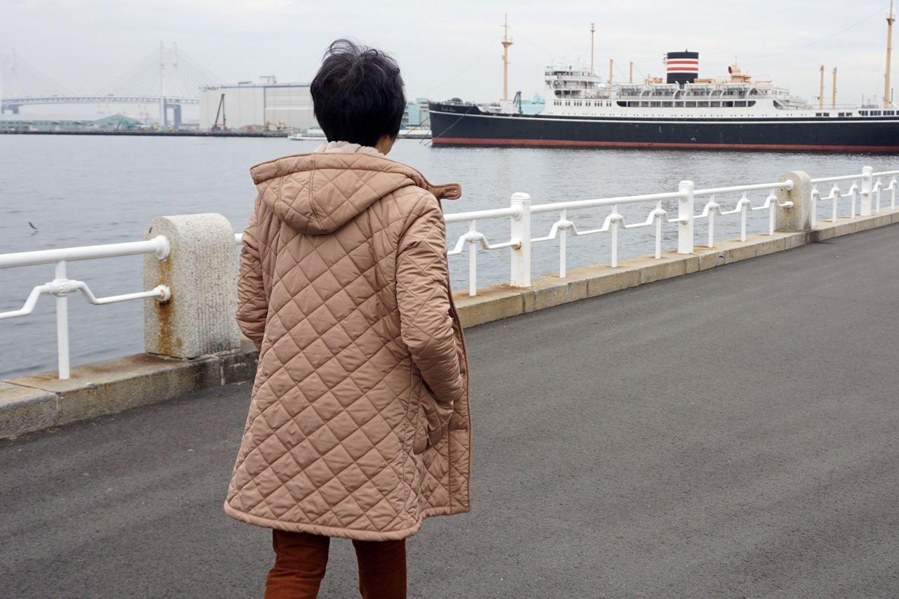 【OMNES】裏ファー高密度ナイロンキルティングコート